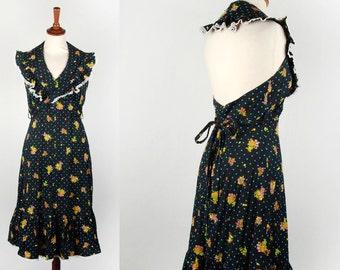 Floral Backless Dress || Super CUTE Print with Black Background! || Halter Dress