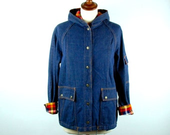Hooded Denim Jacket with Plaid Detail by Valley Company