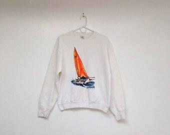 Vintage 1980s Neon Corsair Sailboat Unisex Sweatshirt