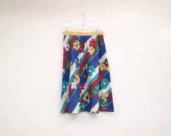 Vintage 1970s Floral Striped A-Line Plus Size Midi Skirt
