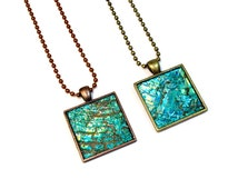 Turquoise Modern Necklace, Square Pendant, Repurposed, Recycled, Upcycled CD Jewelry in Copper or Brass