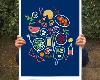 "Picnic is a state of mind (blue) Kitchen Poster print  20""x27"" - archival fine art giclée print"