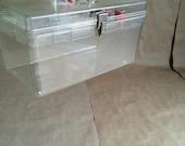 vintage 1970's clear plastic sewing box / sewing kit / sewing organizer / fashion designer / fashion school