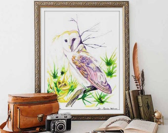 Watercolor Print Barn Owl Wall Art Watercolor Owl Artwork Owl Lover Gifts Housewarming Gift Easter Gift for Her Office Decor for Women