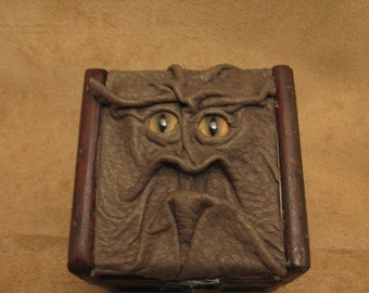 "Grichels leather and wooden trinket box - ""Pinetty"" 27513 - olive green with honey brown and green slit pupil bobcat eyes"