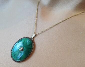 Lovely Guilloche Enamel Pendant – Green Brass 1940s Jewelry