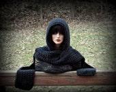 Black Hood, Black Hooded Scarf, Black Scarf, Scoodie, Women, Mens, Black Neckwarmer, Black Medieval, Snood, Winter Accessories, Black