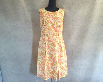 Vintage 60's Sleeveless Shift Dress, Peach and Yellow Paisley, Cotton, Women's Size Medium, bust 36
