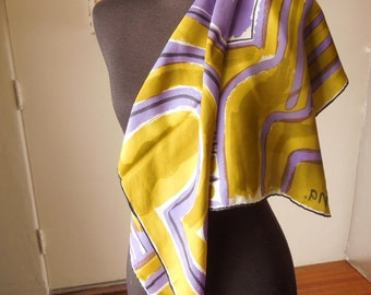 Vintage 80's VERA Scarf, GORGEOUS Olive Green, Chartreuse, Lavender, Black and White Abstract Artistic Print