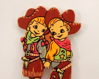 Cowboy Cowgirl Cute Children Wood Applique Cut Out Figures Vintage 1950s