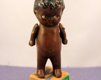 Black Porcelain Baby Doll Nippon 5 inch Moving Arms Straight Legs