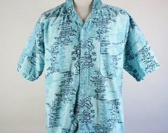 Mens Tropical Shirt. Tribal Print Shirt. Casual Dress Shirt. Baby Blue. Vintage. Summer Beach. Size Xl. GOGOVINTAGE. FREE SHIPPING