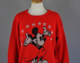 Vintage 80s Women's Red Mickey Mouse Disney Red Pullover Sweater