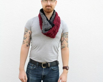Striped Cowl Red, Black, Grey Infinity Scarf, Men's Loop Scarf, Women's Circle Scarf, Winter Knitwear, One of a Kind Fuzzy Scarf Gift