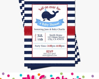 Whale Baby Shower Invitation - Nautical Baby Shower Invitations - Nautical Invitations - Whale Birthday Party - Digital Printable Invite