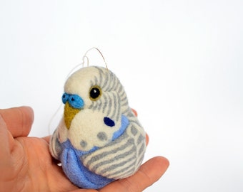 Blue and grey Budgerigar, needle felted bird, wool ornament ball, MADE TO ORDER