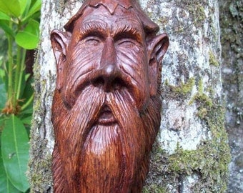 American folk art, hand carved wood spirit, wood sprite, one-of-a-kind sculpture, elf, gnome wood carving