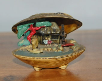 Antique Celluloid Clam Shell w/ an unusual Colorful Anabori Netsuke Style Faux Carved Bone ~ Asian Diorama