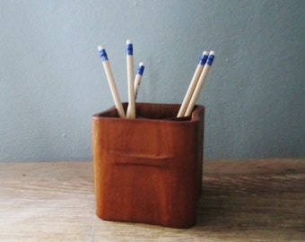 DANSK JHQ Teak Danish Modern Desk Pencil Or Utensil Holder