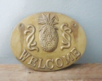 Vintage Brass Pineapple Welcome Plaque