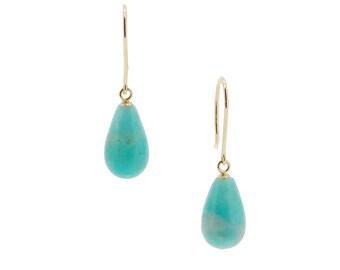 Amanzonite 14K gold Egg Drop Earrings