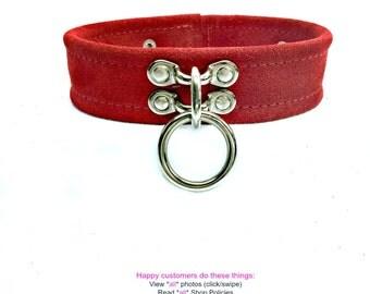 BDSM Slave Collar  Single Ring  Lockable  RED Suede