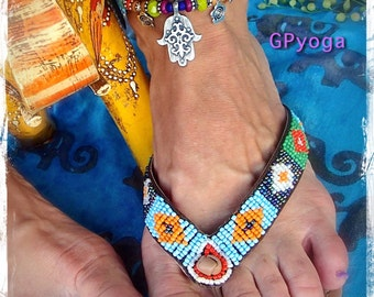 HAMSA HAND Ankle Bracelet Fatima Hand Rainbow Ethnic Hippie Gypsy stackable bracelet Summer Turquoise Purple Boho Bohemian jewelry GPyoga