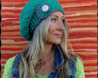 Green Turquoise SLOUCHY Beanie hat Crochet slouch hat TREE button Girls beret Winter Urban Boho Baggy Hat Womens Hats Fall BEANIE GPyoga