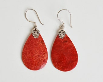 Vintage 90s Long Coral Stone Dangle Earrings Sterling Silver