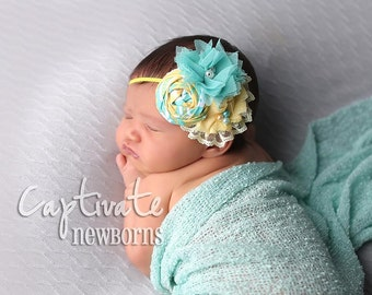 Weekender-- aqua and yellow  rosette and chiffon headband newborn bow prop