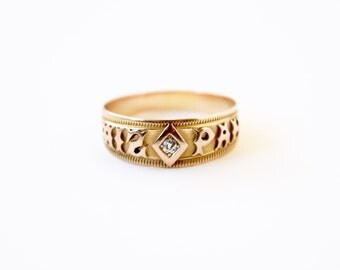 Antique Victorian MIZPAH Ring 18k With Diamond c.1880s