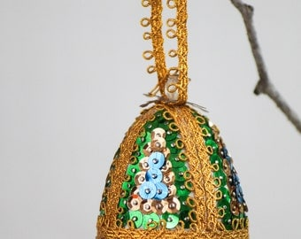 Fancy Hand Beaded Ornament -Sequin Ornament - Bell Shape Sequins Christmas Ornament - Ornament - Retro Holiday Ornament