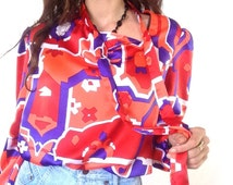 70s Blouse Orange Vintage Shirt Satin Secretary Top Pussycat Bow Flowy Avant Garde Blouse Plus Size Women