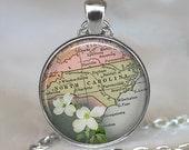 North Carolina map necklace, North Carolina map pendant North Carolina necklace North Carolina key chain