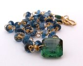 14k Gold London Blue Topaz Necklace with with Green Amethyst and Emeralds
