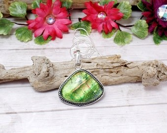 Green Dichroic Glass Necklace - Sterling Silver Necklace