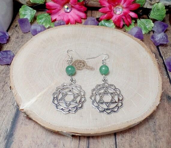 Heart Chakra Earrings - Aventurine Earrings - Green - Gemstone Earrings