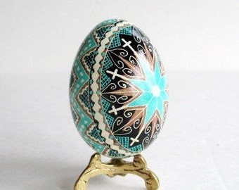 Blue and Brown Pysanka,Best seller,Ukrainian Easter egg,fancy hand painted batik egg,Easter egg with cross,colored eggs for Eater tree