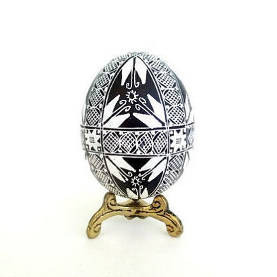 Black and White Easter decor Pysanka hand painted batik egg, Ukrainian eggs on etsy,pisanki from Toronto,handmade in Canada,Ukrainian art