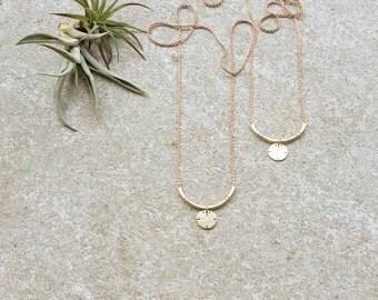 Sun Talisman Pendant / Brass Arc Circle Necklace / Minimalist Summer Jewelry