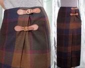 Wool Tartan Pencil Skirt, Long Plaid Talbots Wrap Midi Skirt, Size 4 (small, medium), Buckle Detail, Brown Blue Green Red