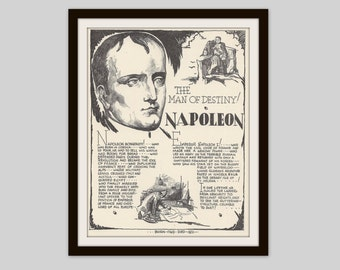 Napoleon, Vintage Art Print, Historical Figure, France, French History, Military History, Political History, History Lovers Gift