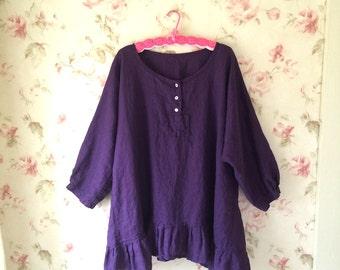 Washed Linen Shirt Purple Linen Romantic Linen Blouse Tunic Sweet Prairie Lagenlook