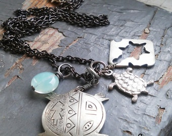 TERRAPIN -  metalwork trio of silver tribal turtles, turtle stencil cut charms, mint green glass & sealed link chain necklace