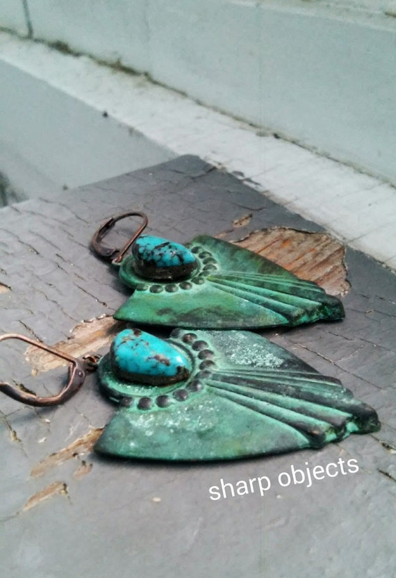 Sheild Maiden - large verdigris metalwork plates & raw turquoise stone, leverback earrings