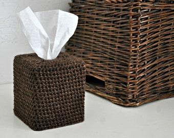 Brown Tweed Tissue Cover Bathroom Nursery Decoration Modern Neutral Home Decor