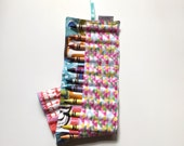 Owlette Crayon Roll 16 Count Letterpress Alphabet Print Pink Green Blue Orange White Brown On the Go Crayon Roll Up 16 Count Crayola Crayons