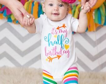 1/2 Birthday Baby Girl Rainbow Bodysuit, 6 Month Outfit, Flower Headband, Rainbow, Half Birthday, Arrows
