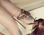 Aged Brass Midi Ring - Romantic - Rococo - Cherub - Cupid - Angels - Love - Fantasy - Unique - Boho Chic - Bohemian - July - Summer - Fall