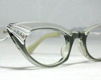 Vintage Cat Eye Glasses. Pointy Silver and Gray with Rhinestones. Small Frames